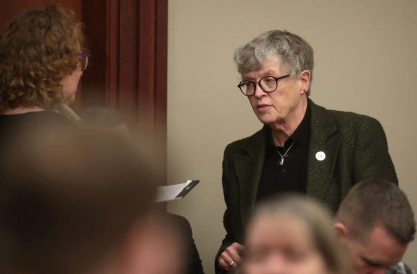 LANSING, MI - JANUARY 17: Michigan State University/President Lou Anna Simon attends the sentencing hearing for Larry Nassar who has been accused of molesting more than 100 girls while he was a physician for USA Gymnastics and Michigan State University where he had his sports-medicine practice on January 17, 2018 in Lansing, Michigan. Nassar has pleaded guilty in Ingham County, Michigan, to sexually assaulting seven girls, but the judge is allowing all his accusers to speak. Nassar is currently serving a 60-year sentence in federal prison for possession of child pornography. (Photo by Scott Olson/Getty Images)