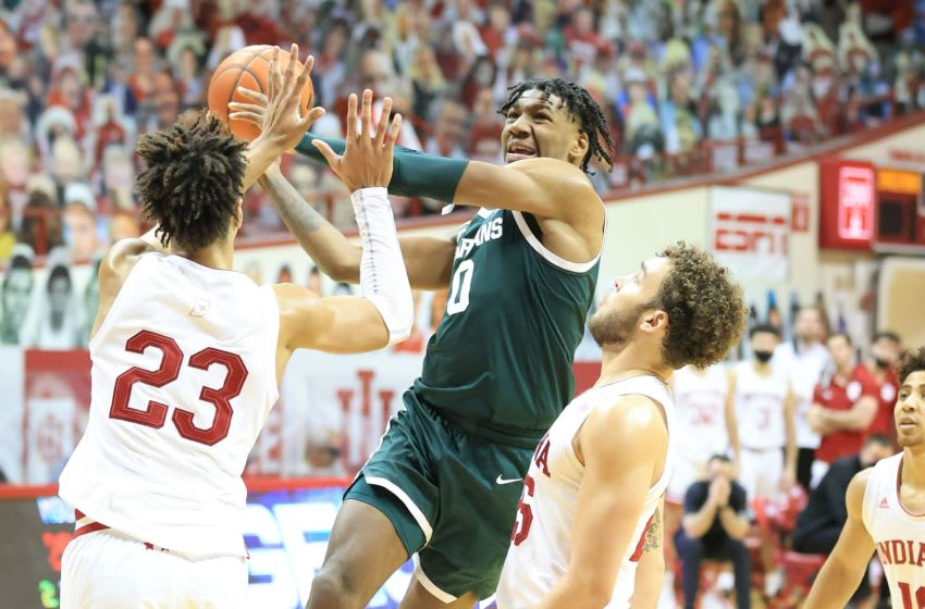 BLOOMINGTON, INDIANA - FEBRUARY 20: Aaron Henry #0 of the Michigan State Spartans shoots the ball during the 78-71 win over the Indiana Hoosiers at Assembly Hall on February 20, 2021 in Bloomington, Indiana. (Photo by Andy Lyons/Getty Images)