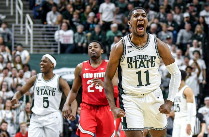 Michigan State basketball's Aaron Henry celebrates after drawing a foul during the second half on Sunday, March 8, 2020, at the Breslin Center in East Lansing. 200308 Msu Osu 169a