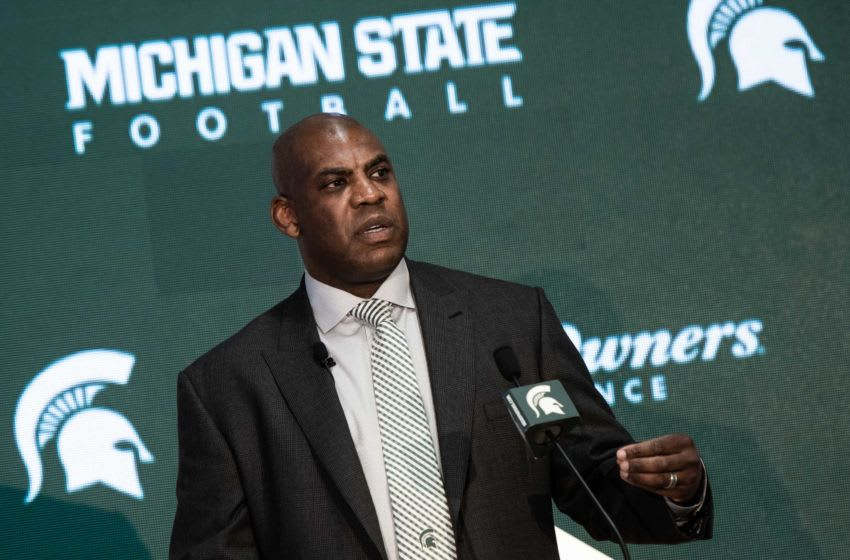 New Michigan State football coach Mel Tucker speaks Wednesday, Feb. 12, 2020, at the Gilbert Pavilion in Michigan State's Breslin Center. Dsc 2565