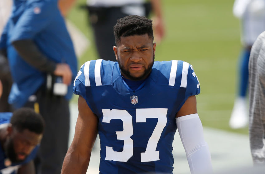 Sep 13, 2020; Jacksonville, Florida, USA; Indianapolis Colts safety Khari Willis (37) walks on the bench before the game against the Jacksonville Jaguars at TIAA Bank Field. Mandatory Credit: Reinhold Matay-USA TODAY Sports