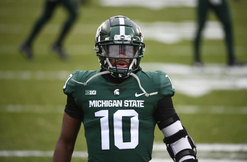 Dec 5, 2020; East Lansing, Michigan, USA; Michigan State Spartans safety Michael Dowell (10) before the game against the Ohio State Buckeyes at Spartan Stadium. Mandatory Credit: Tim Fuller-USA TODAY Sports