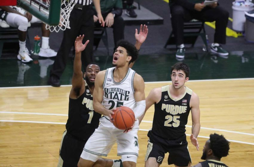 Michigan State Spartans forward Malik Hall shoots against the Purdue Boilermakers during the second half at Breslin Center in East Lansing, Friday, Jan. 8, 2021. Msu Purdue