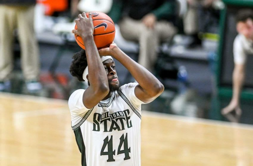 Michigan State's Gabe Brown knocks down a 3-pointer against Iowa during the first half on Saturday, Feb. 13, 2021, at the Breslin Center in East Lansing. 210213 Msu Iowa 093a