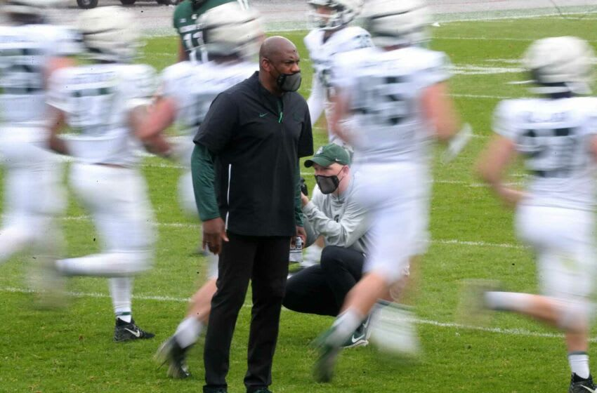 Michigan State football coach Mel Tucker looks on during the MSU spring game Saturday, April 24, 2021 at Spartan Stadium in East Lansing. Msu Spring