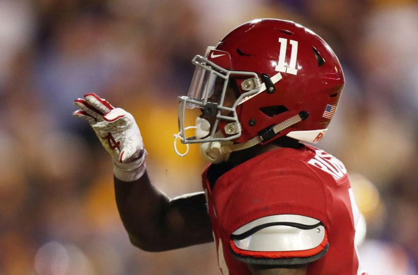 BATON ROUGE, LOUISIANA - NOVEMBER 03: Henry Ruggs III #11 of the Alabama Crimson Tide celebrates his touchdown in the first quarter of their game against the LSU Tigers at Tiger Stadium on November 03, 2018 in Baton Rouge, Louisiana. (Photo by Gregory Shamus/Getty Images)