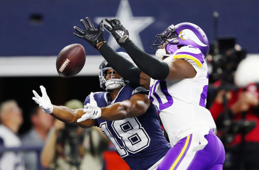 ARLINGTON, TEXAS - NOVEMBER 10: Randall Cobb #18 of the Dallas Cowboys scores a receiving touchdown against Mackensie Alexander #20 of the Minnesota Vikings during the second quarter at AT&T Stadium on November 10, 2019 in Arlington, Texas. (Photo by Tom Pennington/Getty Images)
