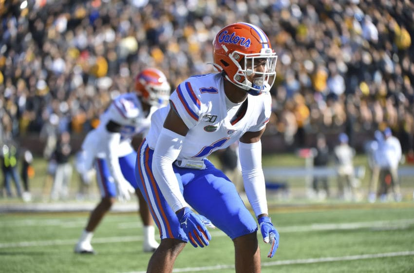 COLUMBIA, MISSOURI - NOVEMBER 16: Defensive back CJ Henderson #1 of the Florida Gators in action against the Missouri Tigers at Faurot Field/Memorial Stadium on November 16, 2019 in Columbia, Missouri.