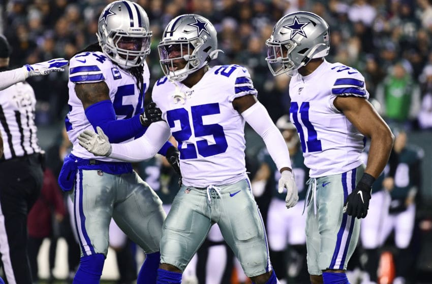 Jaylon Smith #54 of the Dallas Cowboys, and teammates Xavier Woods #25 and Byron Jones #31 (Photo by Corey Perrine/Getty Images)