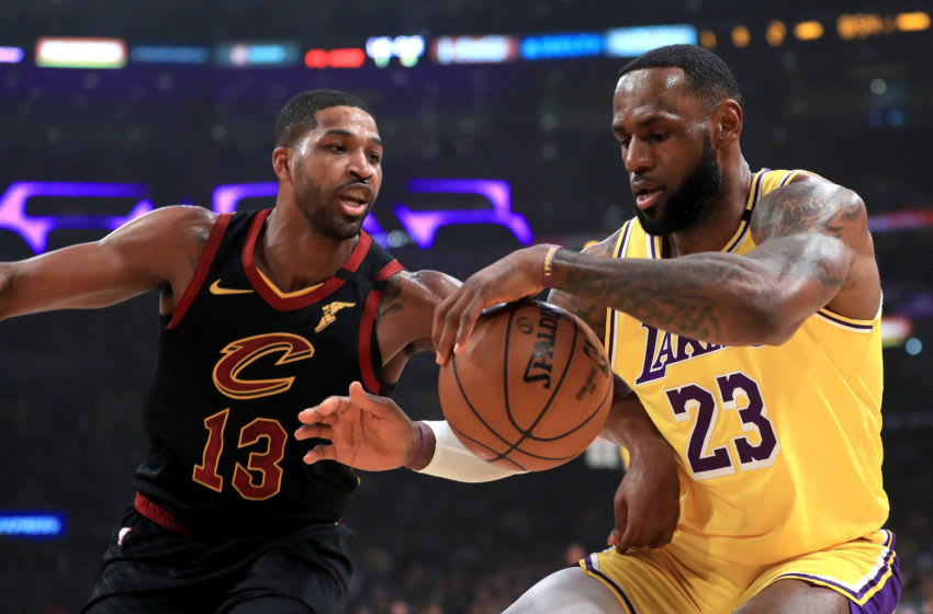 LOS ANGELES, CALIFORNIA - JANUARY 13: Tristan Thompson #13 of the Cleveland Cavaliers defends against LeBron James #23 of the Los Angeles Lakers during the first half of a game at Staples Center on January 13, 2020 in Los Angeles, California. NOTE TO USER: User expressly acknowledges and agrees that, by downloading and/or using this photograph, user is consenting to the terms and conditions of the Getty Images License Agreement. (Photo by Sean M. Haffey/Getty Images)