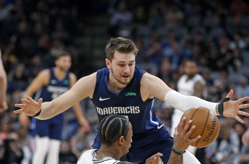 SAN ANTONIO, TX - MARCH 10: Luka Doncic #77 of the Dallas Mavericks (Photo by Ronald Cortes/Getty Images)