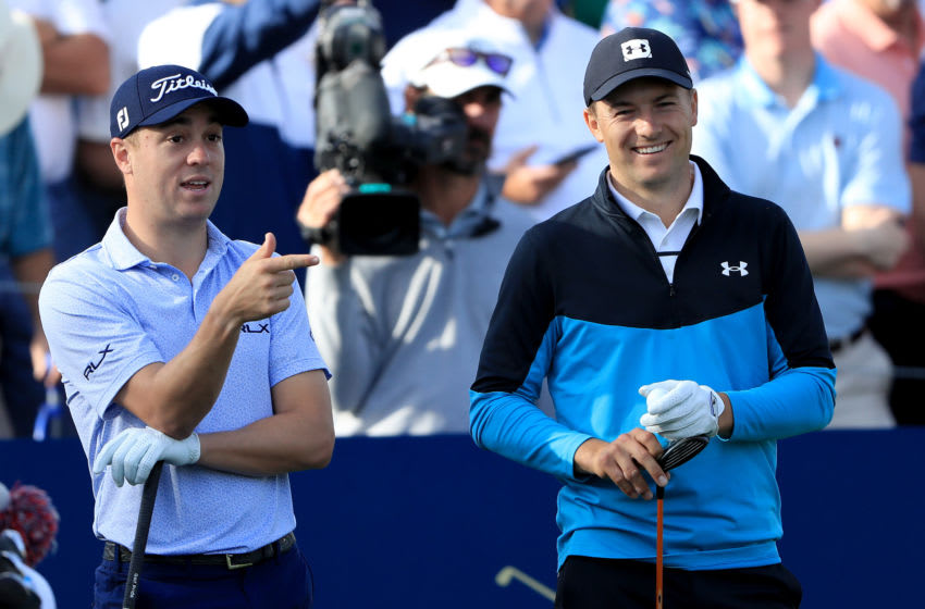 MARCH 12: Justin Thomas (L) jokes with Jordan Spieth (Photo by Sam Greenwood/Getty Images)