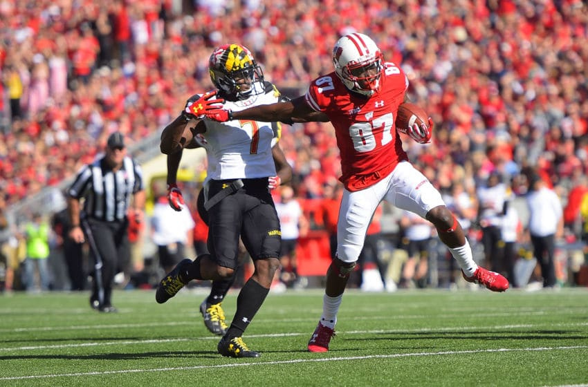 MADISON, WI - OCTOBER 21: Quintez Cephus #87 of the Wisconsin Badgers is pursued by JC Jackson #7 of the Maryland Terrapins during a game at Camp Randall Stadium on October 21, 2017 in Madison, Wisconsin. Wisconsin defeated Maryland 38-13. (Photo by Stacy Revere/Getty Images)