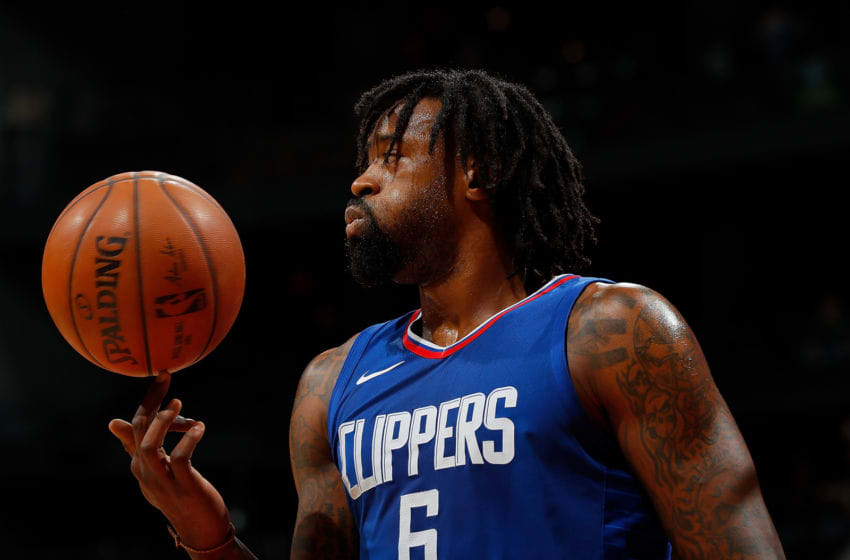 ATLANTA, GA - NOVEMBER 22: DeAndre Jordan #6 of the LA Clippers reacts during the game against the Atlanta Hawks at Philips Arena on November 22, 2017 in Atlanta, Georgia. NOTE TO USER: User expressly acknowledges and agrees that, by downloading and or using this photograph, User is consenting to the terms and conditions of the Getty Images License Agreement. (Photo by Kevin C. Cox/Getty Images)
