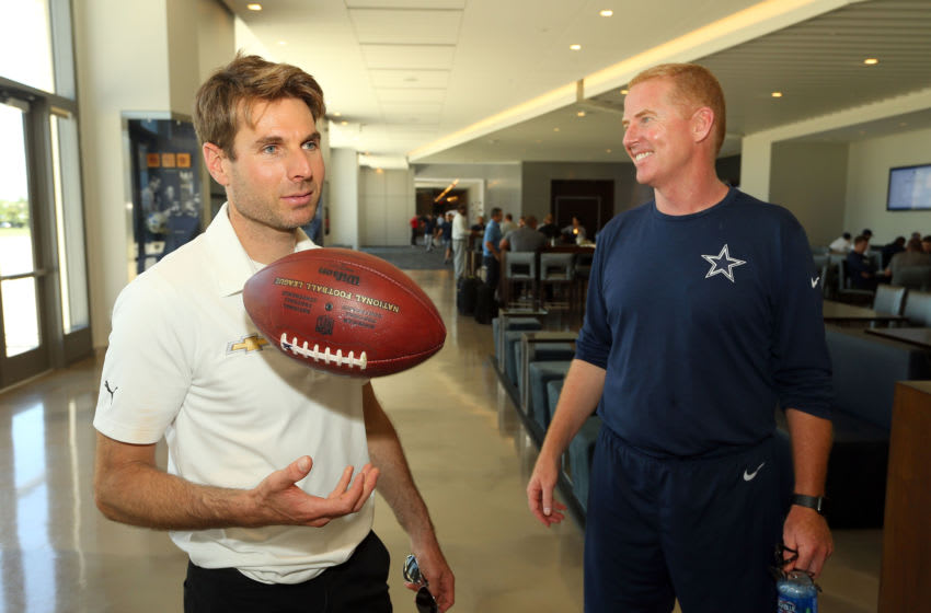 FRISCO, TX - MAY 30: Indianapolis 500 Champion WIll Power tosses an autographed football given to him by Dallas Cowboys head coach Jason Garrett after practice at The Ford Center at The Star on May 30, 2018 in Frisco, Texas. (Photo by Richard Rodriguez/Getty Images)