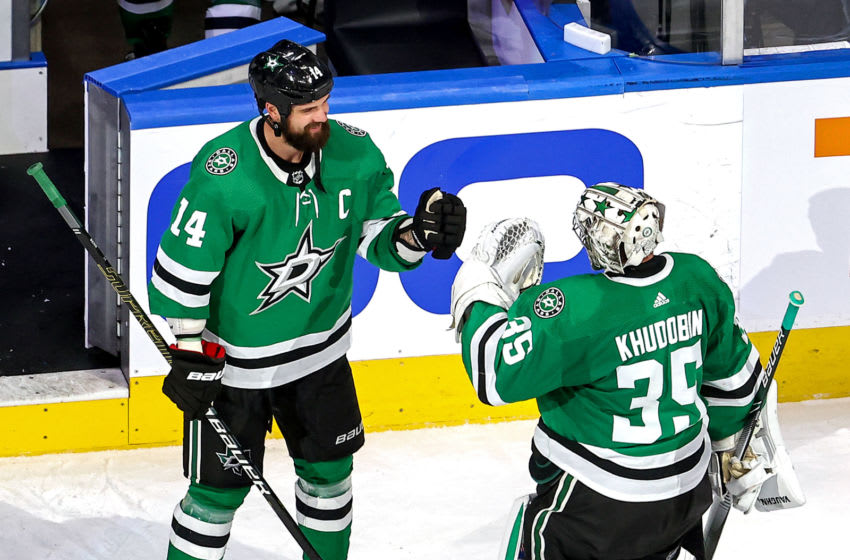 Anton Khudobin #35 and Jamie Benn #14 of the Dallas Stars (Photo by Bruce Bennett/Getty Images)