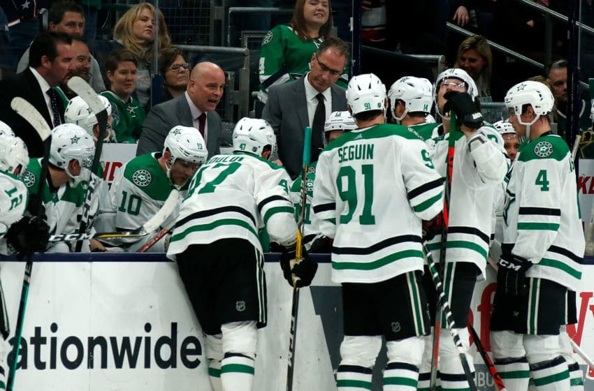 COLUMBUS, OH - OCTOBER 16: Head coach Jim Montgomery of the Dallas Stars talks to his players during a timeout in the game against the Columbus Blue Jackets on October 16, 2019 at Nationwide Arena in Columbus, Ohio. Columbus defeated Dallas 3-2. (Photo by Kirk Irwin/Getty Images)