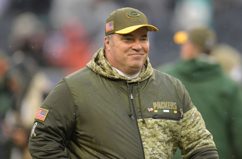 CHICAGO, IL - NOVEMBER 12: Head coach Mike McCarthy of the Green Bay Packers walks off the field after defeating the Chicago Bears 23-16 at Soldier Field on November 12, 2017 in Chicago, Illinois. (Photo by Stacy Revere/Getty Images)