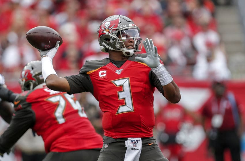 TAMPA, FL - DECEMBER 21: Quarterback Jameis Winston #3 of the Tampa Bay Buccaneers on a pass play during the game against the Houston Texans at Raymond James Stadium on December 21, 2019 in Tampa, Florida. The Texans defeated the Buccaneers 23 to 20. (Photo by Don Juan Moore/Getty Images)