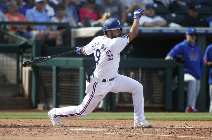 Isiah Kiner-Falefa #9 of the Texas Rangers (Photo by Ralph Freso/Getty Images)