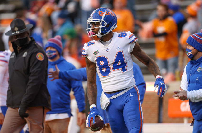 Dec 5, 2020; Knoxville, Tennessee, USA; Florida Gators tight end Kyle Pitts (84) during the first half against the Tennessee Volunteers at Neyland Stadium. Mandatory Credit: Randy Sartin-USA TODAY Sports