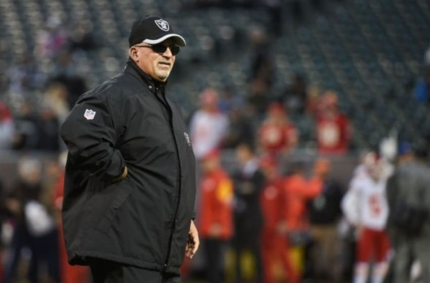 November 20, 2014; Oakland, CA, USA; Oakland Raiders interim head coach Tony Sparano looks on during warm ups before the game against the Kansas City Chiefs at O.co Coliseum. The Raiders defeated the Chiefs 24-20. Mandatory Credit: Kyle Terada-USA TODAY Sports