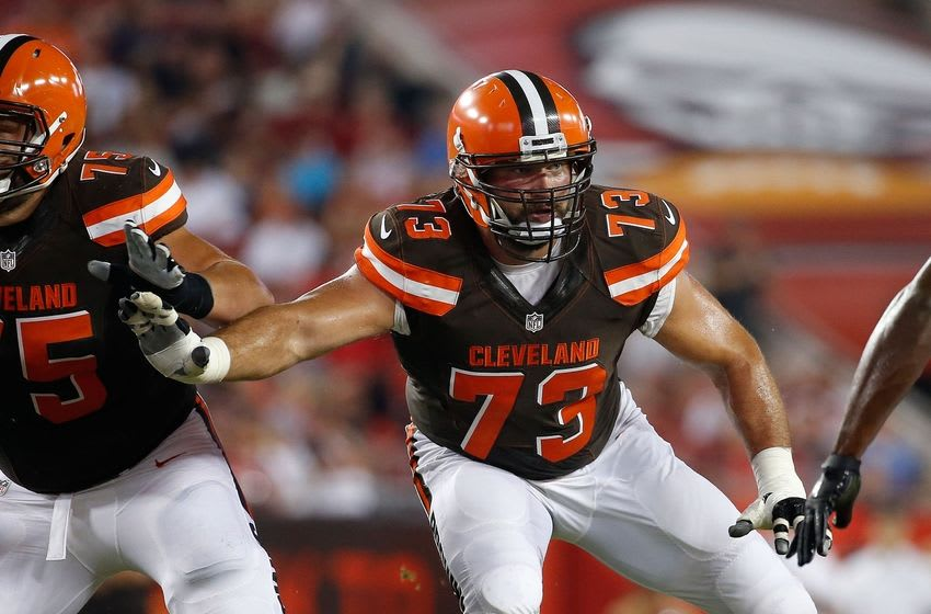 Aug 26, 2016; Tampa, FL, USA; Cleveland Browns tackle Joe Thomas (73) blocks against the Tampa Bay Buccaneers during the first quarter at Raymond James Stadium. Mandatory Credit: Kim Klement-USA TODAY Sports