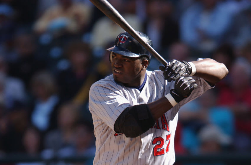 SEATTLE - SEPTEMBER 4: Designated hitter David Ortiz #27 of the Minnesota Twins waits for the pitch during the MLB game against the Seattle Mariners on September 4, 2002 at Safeco Field in Seattle, Washington. The Twins won 3-2. (Photo by Otto Greule Jr/Getty Images)