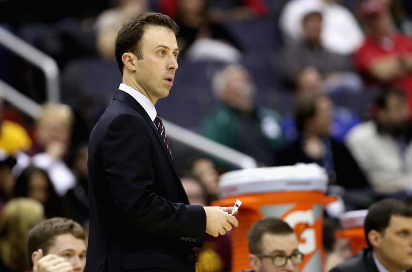 WASHINGTON, DC - MARCH 10: Head coach Richard Pitino of the Minnesota Golden Gophers looks on against the Michigan State Spartans during the Big Ten Basketball Tournament at Verizon Center on March 10, 2017 in Washington, DC. (Photo by Rob Carr/Getty Images)