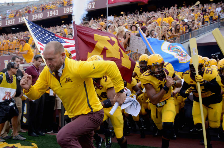MINNEAPOLIS, MN - SEPTEMBER 16: Head coach P.J. Fleck of the Minnesota Golden Gophers leads his team onto the field before the game against the Middle Tennessee Raiders on September 16, 2017 at TCF Bank Stadium in Minneapolis, Minnesota. (Photo by Hannah Foslien/Getty Images)