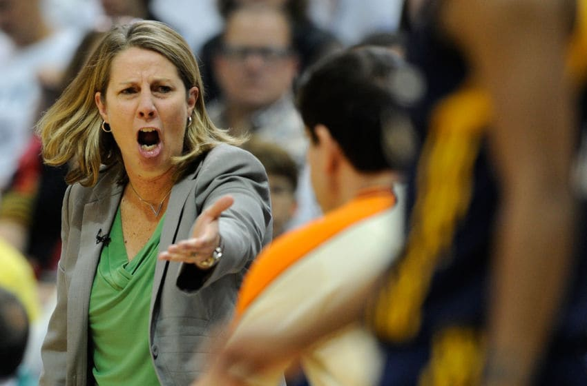 MINNEAPOLIS, MN - OCTOBER 14: Head coach Cheryl Reeve of the Minnesota Lynx reacts to a call during the first quarter in Game Five of the 2015 WNBA Finals on October 14, 2015 at Target Center in Minneapolis, Minnesota. NOTE TO USER: User expressly acknowledges and agrees that, by downloading and or using this Photograph, user is consenting to the terms and conditions of the Getty Images License Agreement. (Photo by Hannah Foslien/Getty Images)