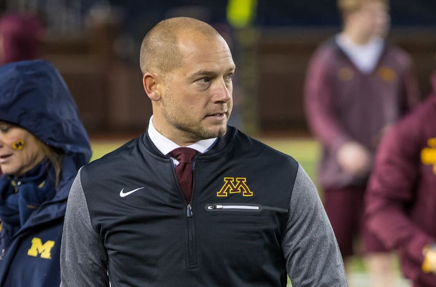 ANN ARBOR, MI - NOVEMBER 04: Head coach P.J. Fleck of the Minnesota Golden Gophers walks around the field before a college football game against the Michigan Wolverines at Michigan Stadium on November 4, 2017 in Ann Arbor, Michigan. (Photo by Dave Reginek/Getty Images)