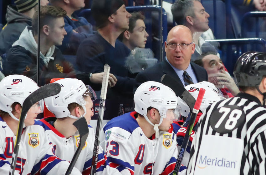 BUFFALO, NY - DECEMBER 31: Bob Motzko head coach of United States behind the bench in the first period against Finland during the IIHF World Junior Championship at KeyBank Center on December 31, 2017 in Buffalo, New York. (Photo by Kevin Hoffman/Getty Images)