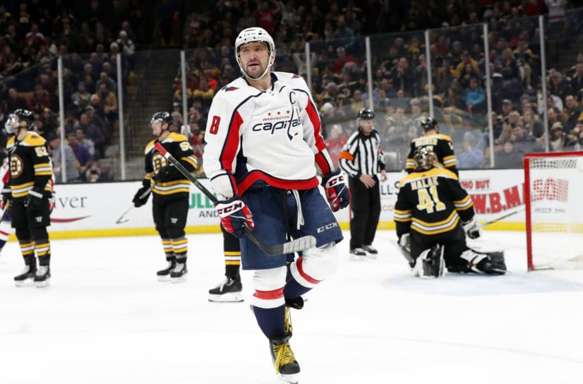 BOSTON, MA - JANUARY 10: Washington Capitals left wing Alex Ovechkin (8) reacts to his goal during a game between the Boston Bruins and the Washington Capitals on January 10, 2019, at TD Garden in Boston, Massachusetts. (Photo by Fred Kfoury III/Icon Sportswire via Getty Images)