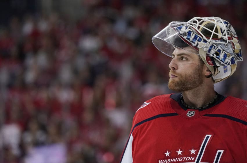 WASHINGTON, DC - APRIL 13: Braden Holtby #70 of the Washington Capitals looks on in the second period against the Carolina Hurricanes in Game Two of the Eastern Conference First Round during the 2019 NHL Stanley Cup Playoffs at Capital One Arena on April 13, 2019 in Washington, DC. (Photo by Patrick McDermott/NHLI via Getty Images)
