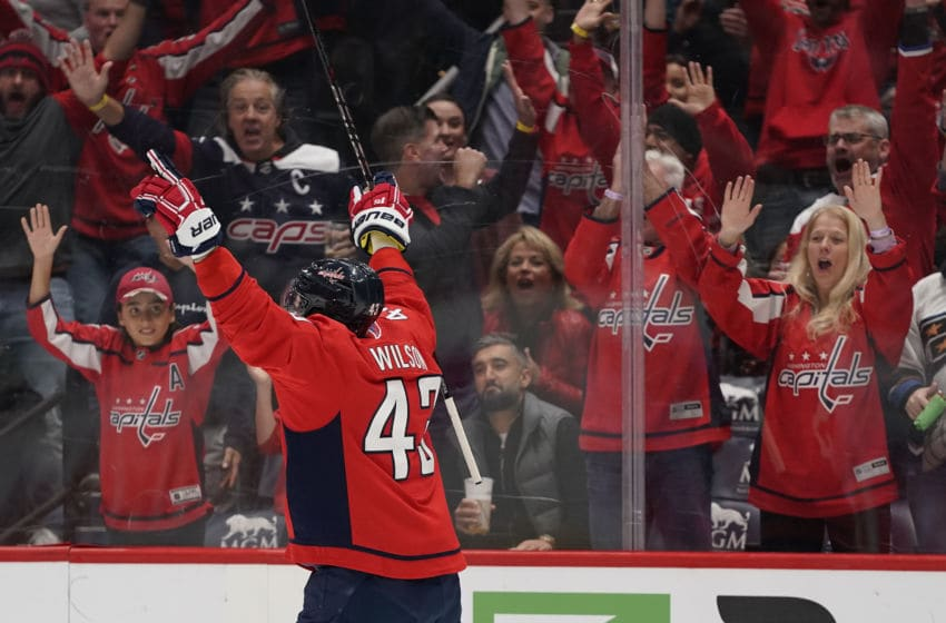 WASHINGTON, DC - NOVEMBER 09: Tom Wilson #43 of the Washington Capitals celebrates after scoring a goal in the first period against the Vegas Golden Knights at Capital One Arena on November 9, 2019 in Washington, DC. (Photo by Patrick McDermott/NHLI via Getty Images)