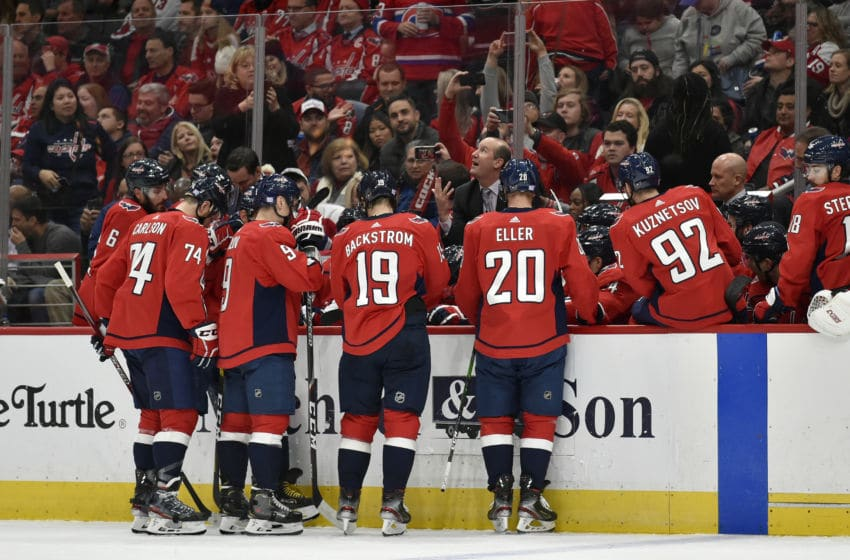 WASHINGTON, DC - NOVEMBER 15: Capitals head coach Todd Reirden talks to the team on the bench during the Montreal Canadiens vs. Washington Capitals game November 15, 2019 at Capital One Arena in Washington, D.C.. (Photo by Randy Litzinger/Icon Sportswire via Getty Images)