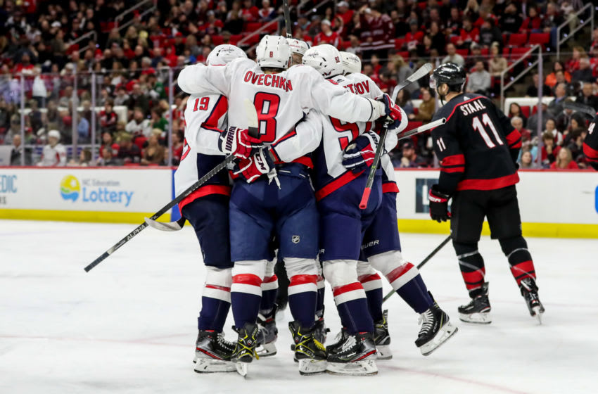 RALEIGH, NC - JANUARY 03: The Washington Capitals celebrate a second period goal during an NHL game between the Carolina Hurricanes and the Washington Capitals on January 3, 2020 at the PNC Arena in Raleigh, NC. (Photo by John McCreary/Icon Sportswire via Getty Images)