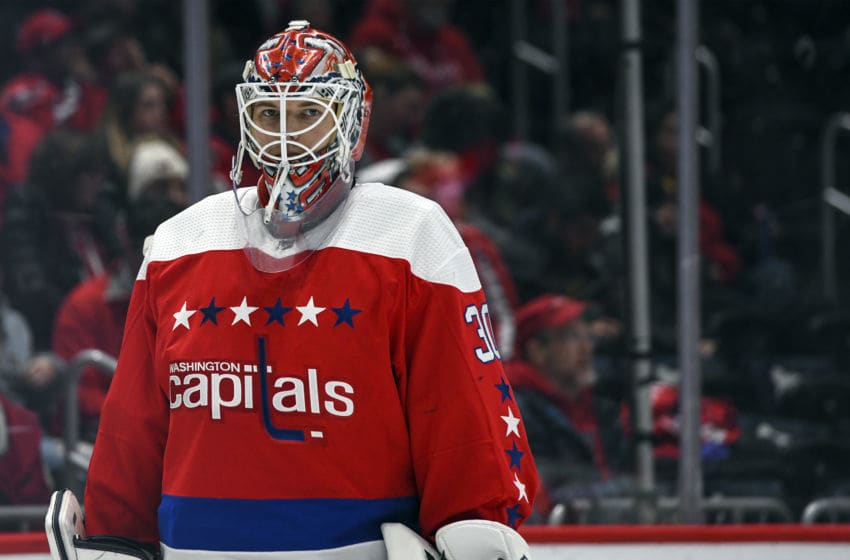WASHINGTON, DC - JANUARY 16: Washington Capitals goaltender Ilya Samsonov (30) in action against the New Jersey Devils on January 16, 2020 at the Capital One Arena in Washington, D.C. (Photo by Mark Goldman/Icon Sportswire via Getty Images)