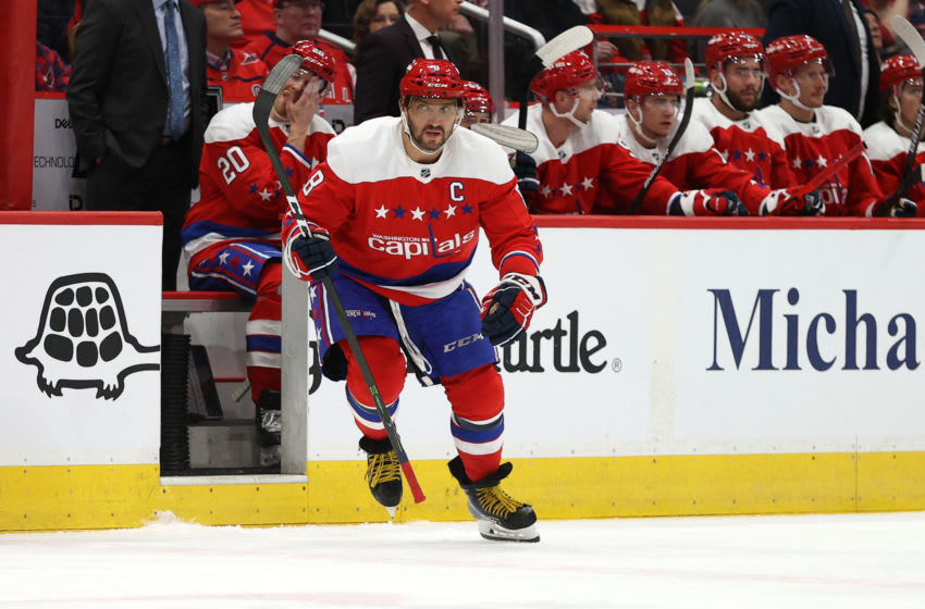 WASHINGTON, DC - FEBRUARY 08: Alex Ovechkin #8 of the Washington Capitals skates against the Philadelphia Flyers at Capital One Arena on February 08, 2020 in Washington, DC. (Photo by Patrick Smith/Getty Images)