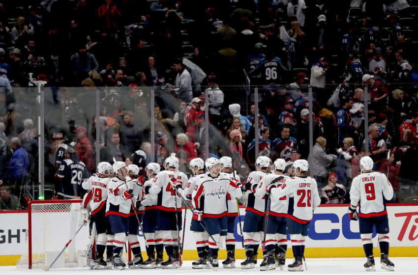 DENVER, COLORADO - FEBRUARY 13: Members of the Washington Capitals celebrate their win against the Colorado Avalanche at the Pepsi Center on February 13, 2020 in Denver, Colorado. (Photo by Matthew Stockman/Getty Images)