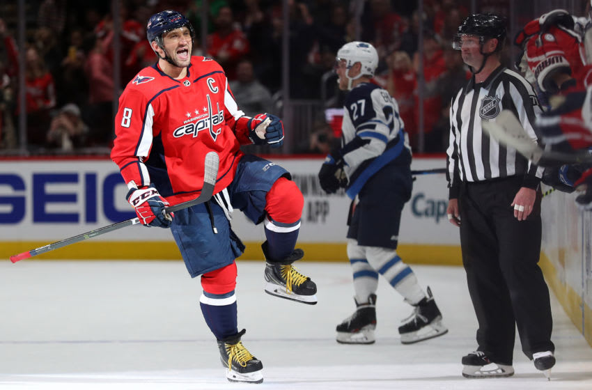 WASHINGTON, DC - FEBRUARY 25: Alex Ovechkin #8 of the Washington Capitals celebrates after scoring during a shootout against the Winnipeg Jets at Capital One Arena on February 25, 2020 in Washington, DC. The Washington Capitals won, 4-3, in a shootout. (Photo by Patrick Smith/Getty Images)