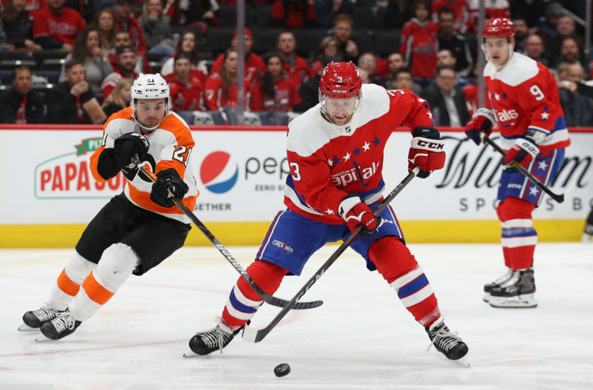 WASHINGTON, DC - MARCH 04: Nick Jensen #3 of the Washington Capitals skates against the Philadelphia Flyers during the first period at Capital One Arena on March 4, 2020 in Washington, DC. (Photo by Patrick Smith/Getty Images)