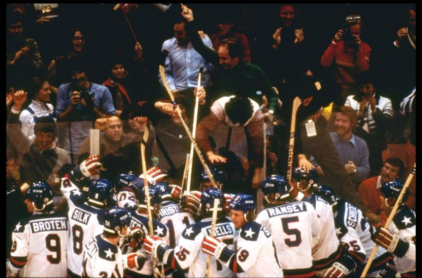 22 Feb 1980: The USA Team celebrates their 4-3 victory over Russia in the semi-final of the Ice Hockey competition of the 1980 Winter Olympic Games in Lake Placid, USA. The game was dubbed