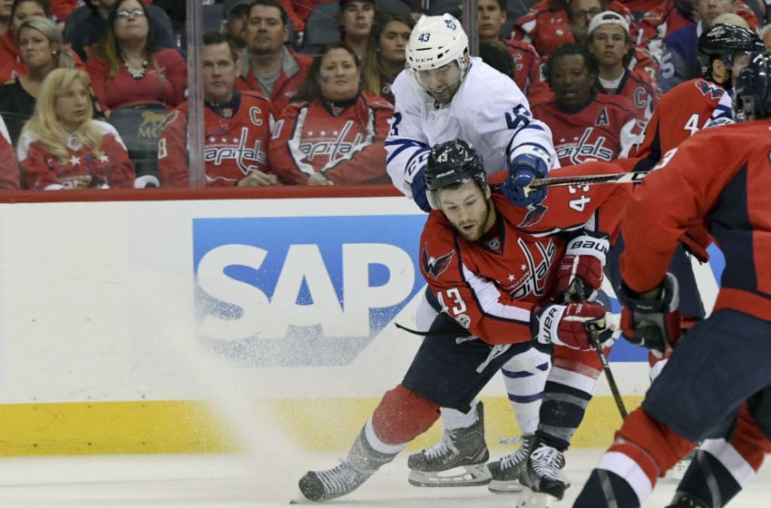 WASHINGTON, DC - April 15: Washington Capitals right wing Tom Wilson (43) is hit from behind by Toronto Maple Leafs center Nazem Kadri (43) in the second period on April 15, 2017, at the Verizon Center in Washington, D.C. in Round 1 of the NHL Playoffs. (Photo by Mark Goldman/Icon Sportswire via Getty Images)