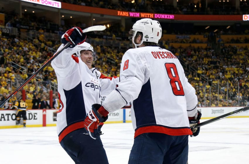 Nicklas Backstrom, Alex Ovechkin, Washington Capitals (Photo by Kirk Irwin/Getty Images) *** Local Caption *** Nicklas Backstrom;Alex Ovechkin