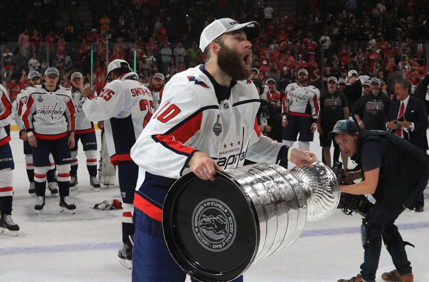 LAS VEGAS, NV - JUNE 07: Brett Connolly #10 of the Washington Capitals prepares to hoist the Stanley Cup after Game Five of the 2018 NHL Stanley Cup Final between the Washington Capitals and the Vegas Golden Knights at T-Mobile Arena on June 7, 2018 in Las Vegas, Nevada. The Capitals defeated the Golden Knights 4-3 to win the Stanley Cup Final Series 4-1. (Photo by Dave Sandford/NHLI via Getty Images)
