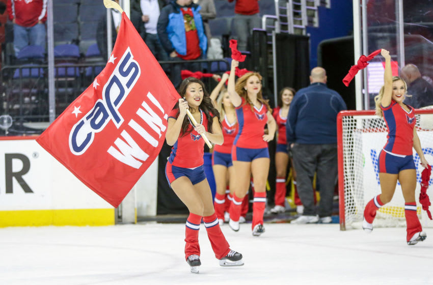 WASHINGTON, DC - DECEMBER 06: Red Rockers enter the ice at the end of a NHL game between the Washington Capitals and the Chicago Blackhawks, on December 6, 2017, at Capital One Arena, in Washington, D.C. The Capitals defeated the Blackhawks 6-2. (Photo by Tony Quinn/Icon Sportswire via Getty Images)