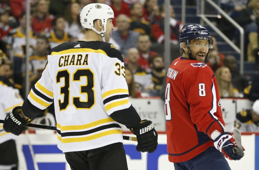 Zdeno Chara, Alex Ovechkin, Washington Capitals Mandatory Credit: Geoff Burke-USA TODAY Sports