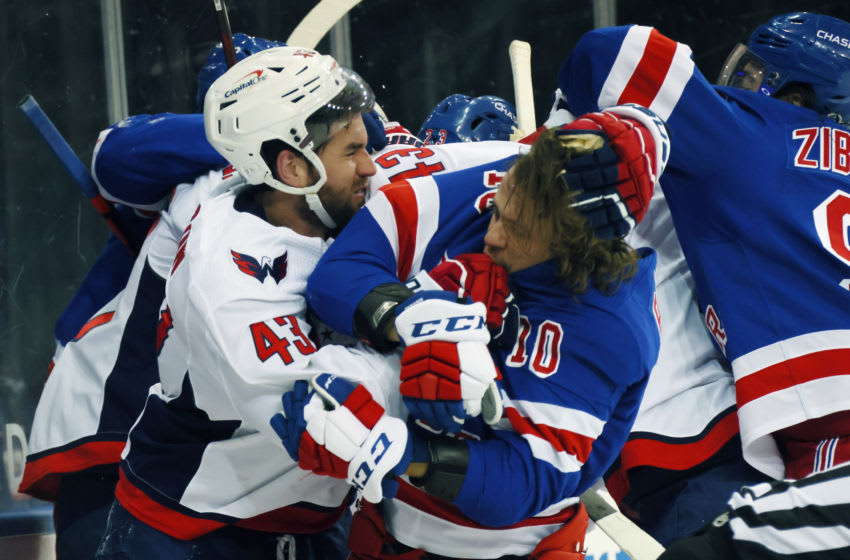 May 3, 2021; New York, New York, USA; Tom Wilson #43 of the Washington Capitals takes a roughing penalty during the second period against Artemi Panarin #10 of the New York Rangers at Madison Square Garden. Mandatory Credit: Bruce Bennett/POOL PHOTOS-USA TODAY Sports